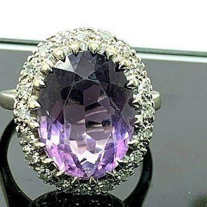 Cocktail Diamond & Purple Gemstone Ring 14k SZ 9